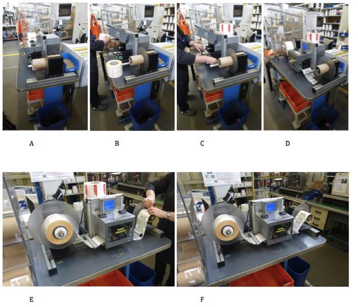 Changement de bobines sur bloc d'impression Datamax