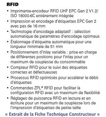 Extrait FT :  imprimante industrielle 110Xi4 RFID de Zebra