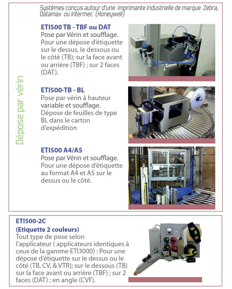 Systèmes d'impression pose ETI 500