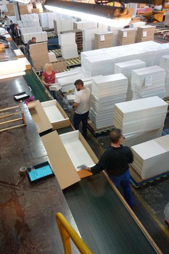 Chaine d'emballage Demeyere : dépose de cales