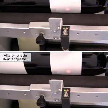 Etiqueteuse semi-automatique pour bouteille : alignement de 2 étiquettes