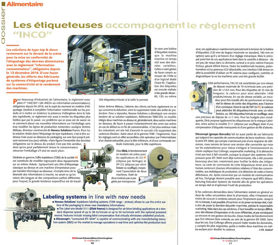 Emballage Digest mai 2017 - Dossier étiqueteuse page 16 et 17