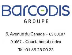 Adresse Barcodis : 9 av du canada -CS 60107 - 91667 Courtaboeuf - Tel 01 69 28 00 23