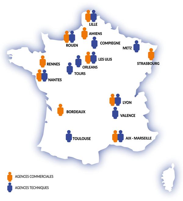Carte de France - équipes commerciales et techniques -Eticoncept