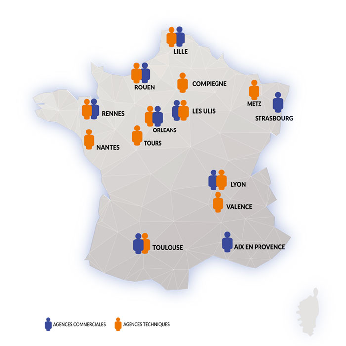 carte de France des implantations