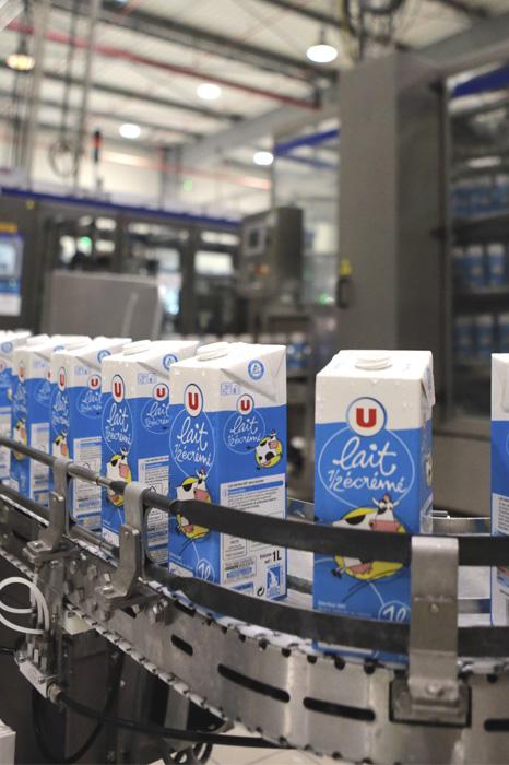 ligne de conditionnement des briques ( bricks ) de lait