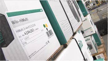 Wilo Salmson France : étiquette produit sur carton