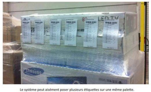 pose 1 face de 6 étiquettes palettes pour Eti 3000 TB dans un entrepôt B.T. LEC