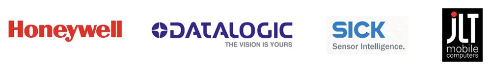 logos des marques de lecteurs et terminaux Sick, Datalogic, JLT, Honeywell