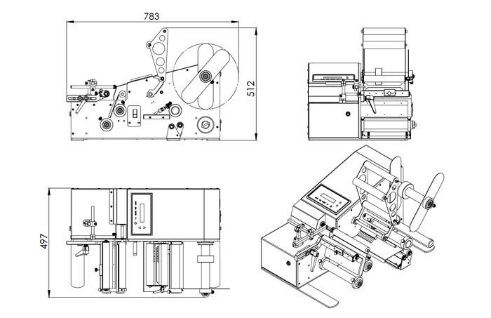 Schemas techniques de l'étiqueteuse semi automatique ETI Junior