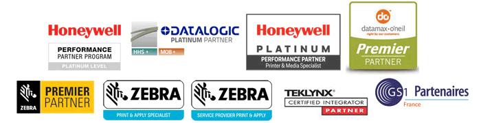 LOgos des partenaires : Zebra, Honeywel, Tecklynx, datalogic...