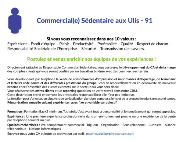 Recrutement Commercial(e) sédentaire